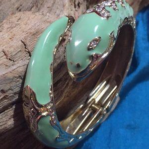 Enamel Green Snake Bracelet Hinged Bangle Jewelry